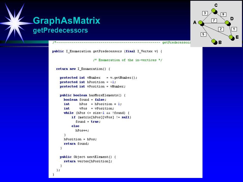 GraphAsMatrix getPredecessors