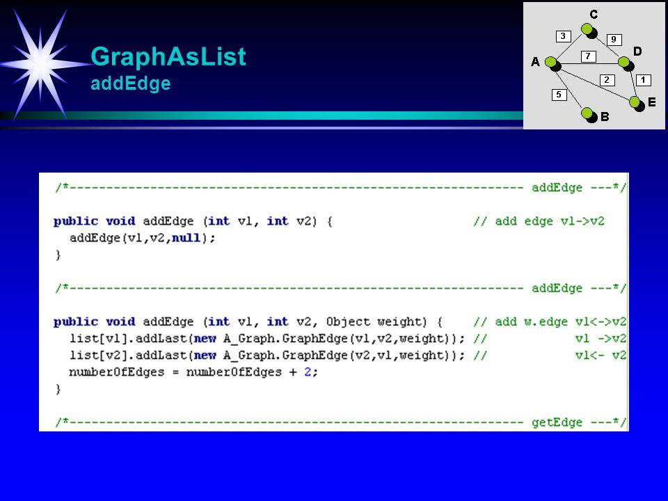 GraphAsList addEdge addEdge Adderer til en ny kant eventuelt m/vekt-opplysninger.