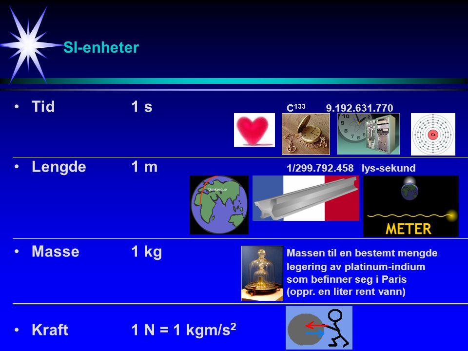 SI-enheter Tid 1 s C133 9.192.631.770. Lengde 1 m 1/299.792.458 lys-sekund.