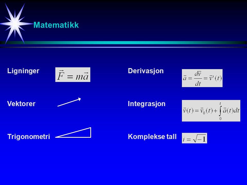 Matematikk Ligninger Vektorer Trigonometri Derivasjon Integrasjon