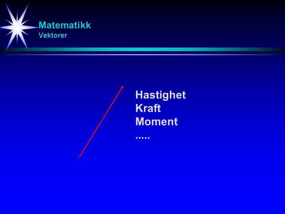 Hastighet Kraft Moment ..... Matematikk Vektorer