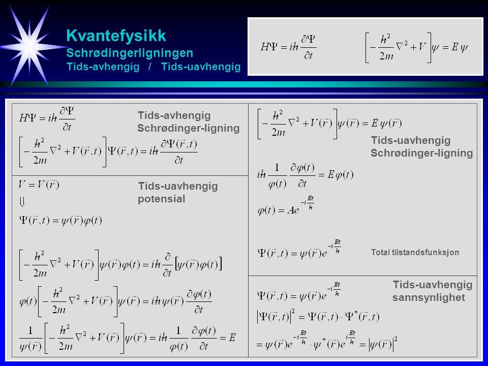 Kvantefysikk Schrødingerligningen Tids-avhengig / Tids-uavhengig