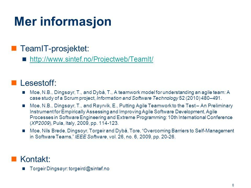 Mer informasjon TeamIT-prosjektet: Lesestoff: Kontakt: