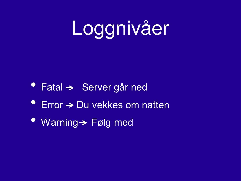 Loggnivåer Fatal Server går ned Error Du vekkes om natten
