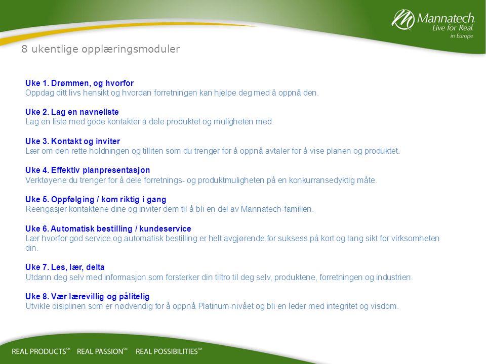 8 ukentlige opplæringsmoduler