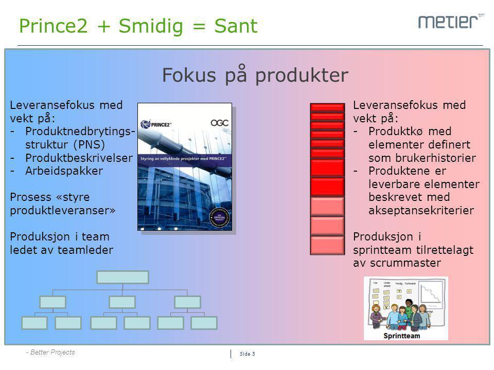 Prince2 + Smidig = Sant Fokus på produkter Leveransefokus med vekt på: