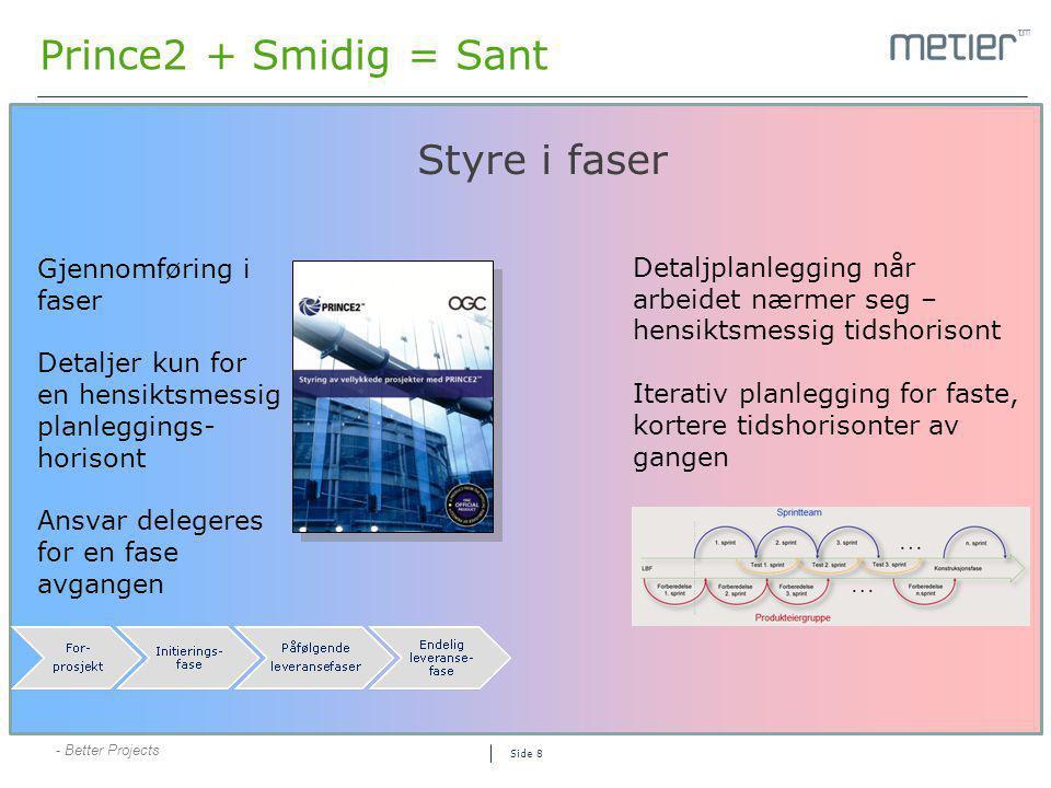 Prince2 + Smidig = Sant Styre i faser Gjennomføring i faser