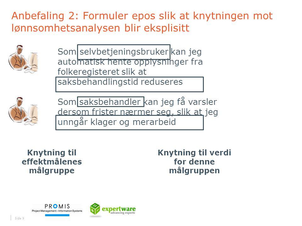 Anbefaling 2: Formuler epos slik at knytningen mot lønnsomhetsanalysen blir eksplisitt