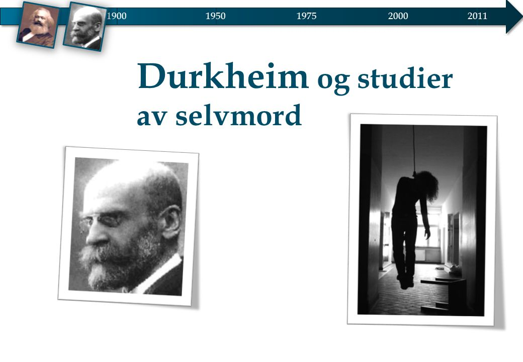 1900 1950 2000 2011 1975 Durkheim og studier av selvmord