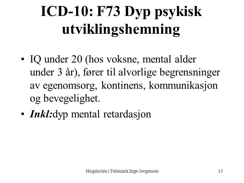 ICD-10: F73 Dyp psykisk utviklingshemning
