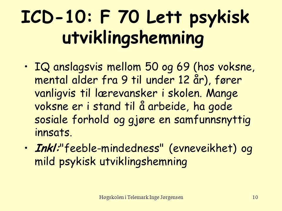 ICD-10: F 70 Lett psykisk utviklingshemning