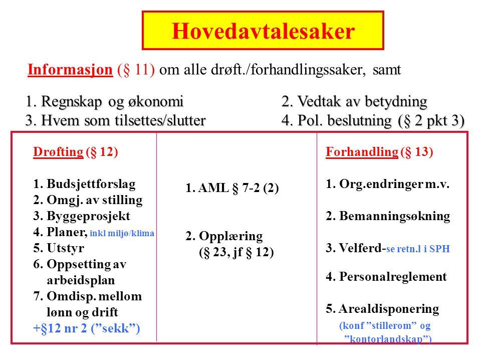 Hovedavtalen i staten Hovedavtalesaker. Informasjon (§ 11) om alle drøft./forhandlingssaker, samt.