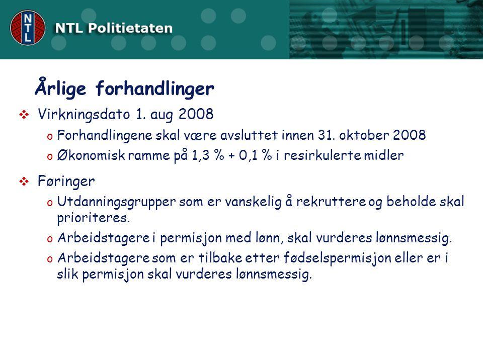 Årlige forhandlinger Virkningsdato 1. aug 2008 Føringer