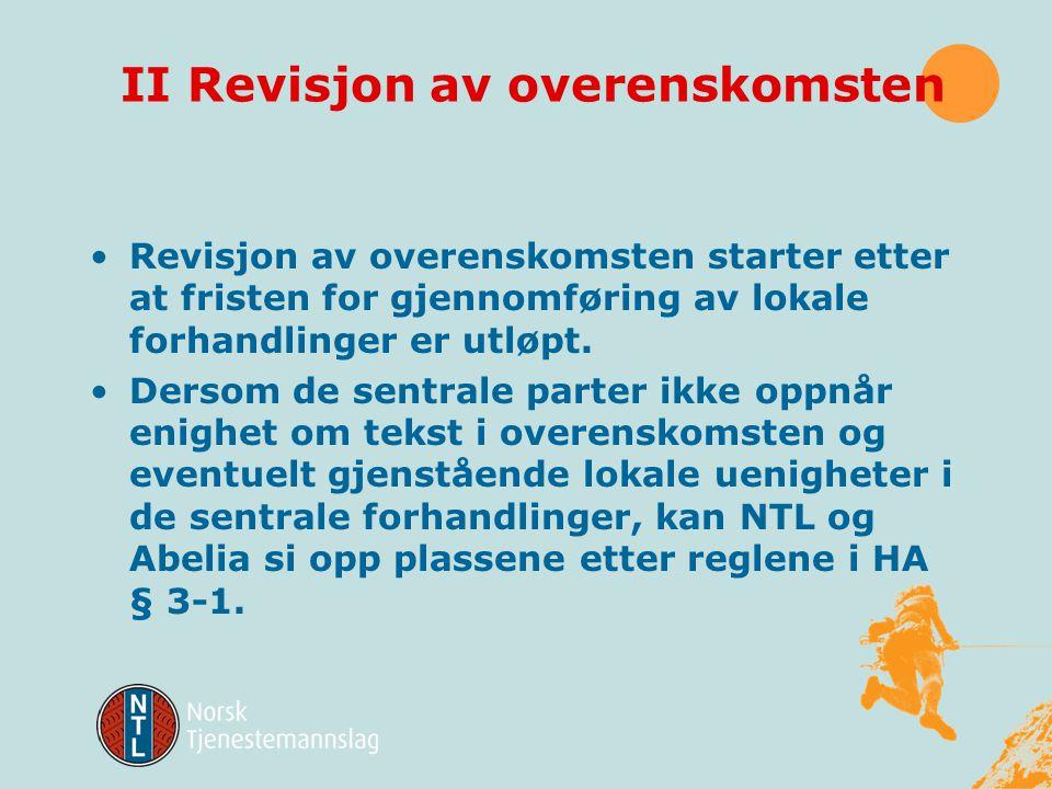 II Revisjon av overenskomsten