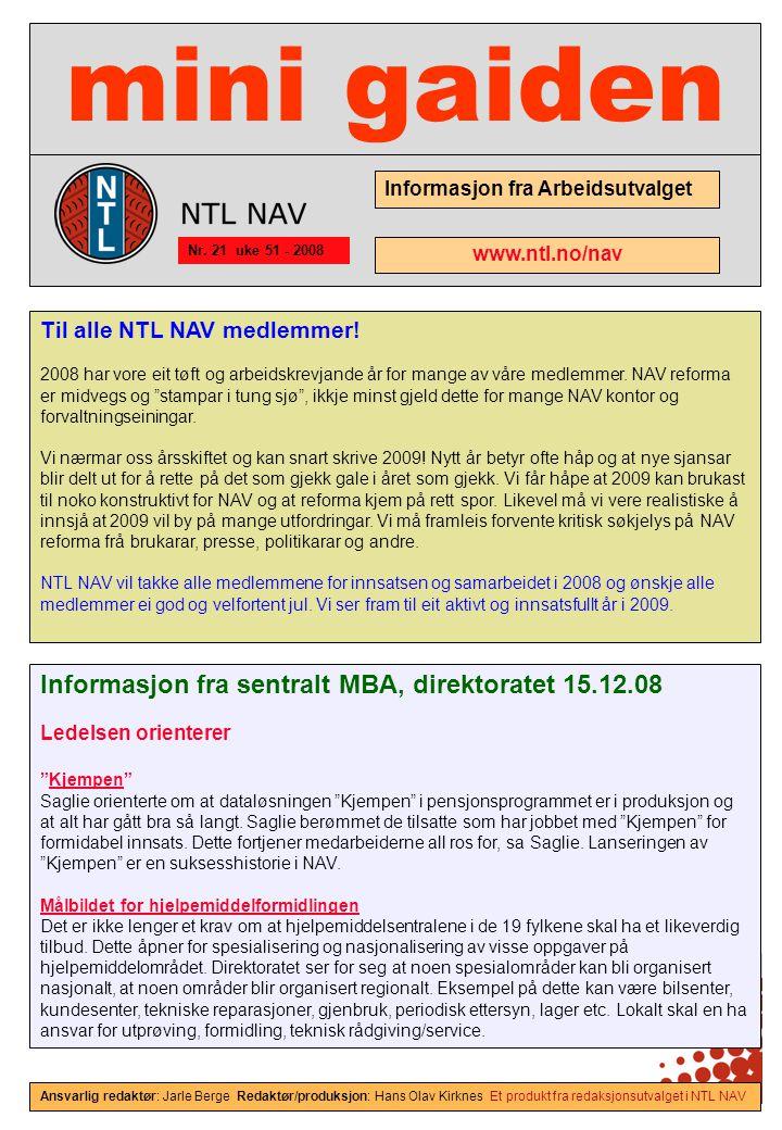 mini gaiden Informasjon fra sentralt MBA, direktoratet 15.12.08