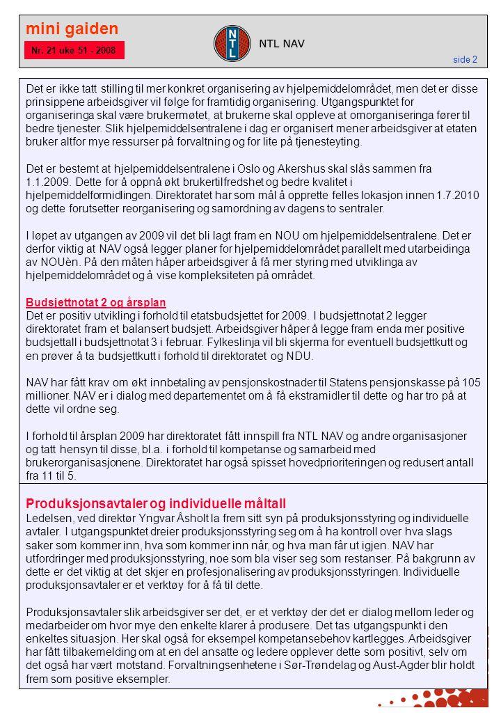 mini gaiden side 2 Produksjonsavtaler og individuelle måltall