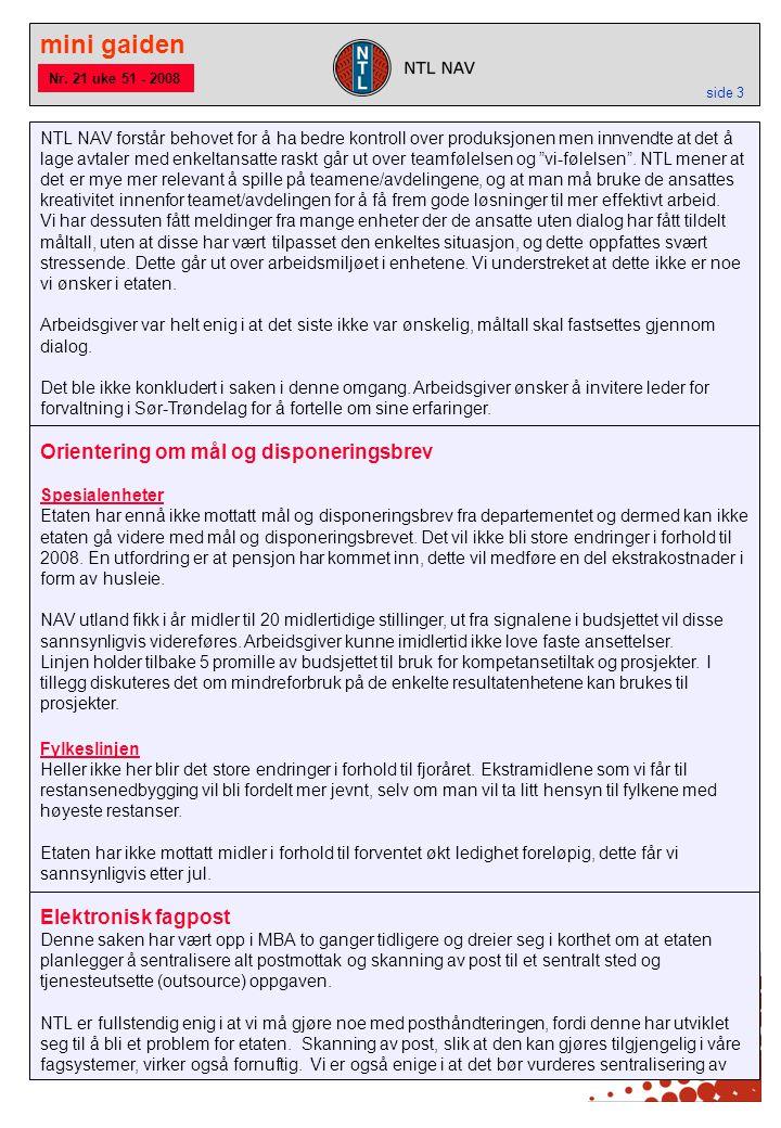 mini gaiden side 3 Orientering om mål og disponeringsbrev