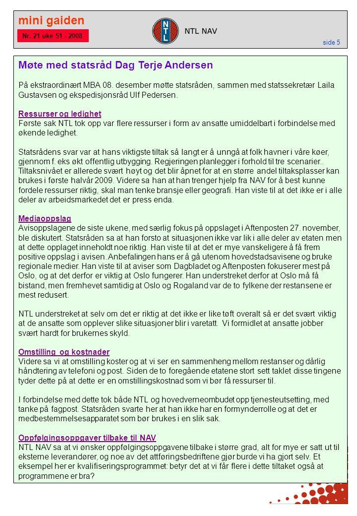 mini gaiden side 5 Møte med statsråd Dag Terje Andersen