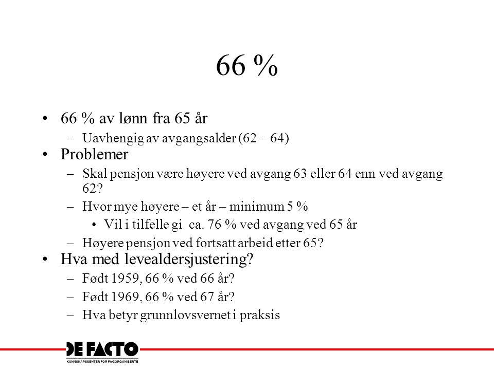 66 % 66 % av lønn fra 65 år Problemer Hva med levealdersjustering