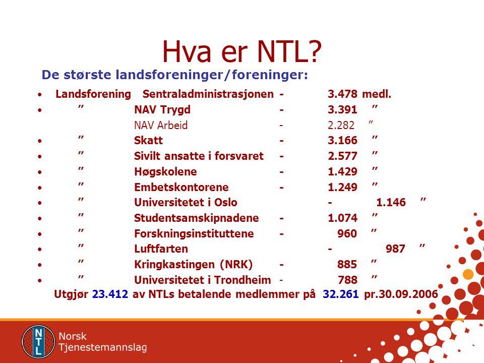Hva er NTL De største landsforeninger/foreninger: