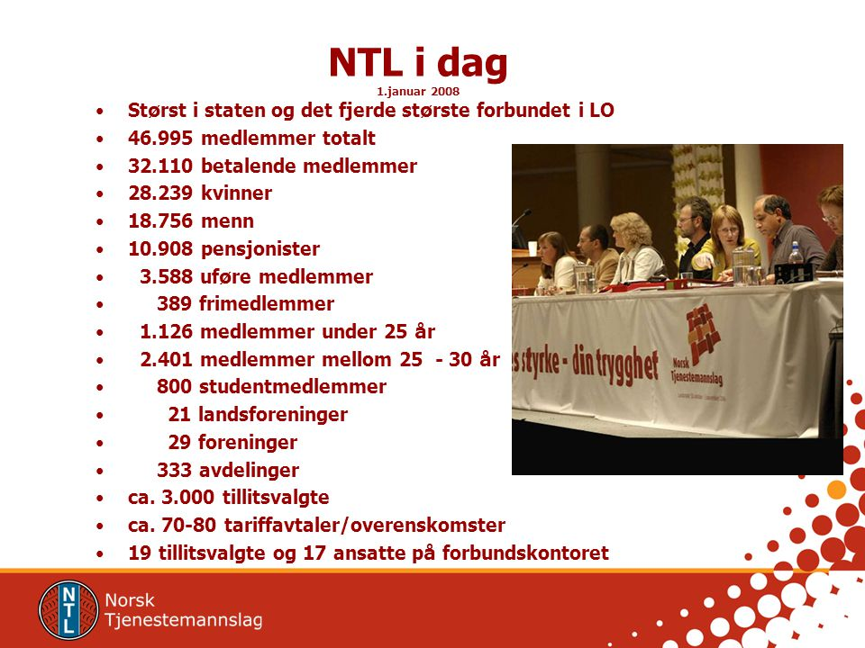 NTL i dag Størst i staten og det fjerde største forbundet i LO