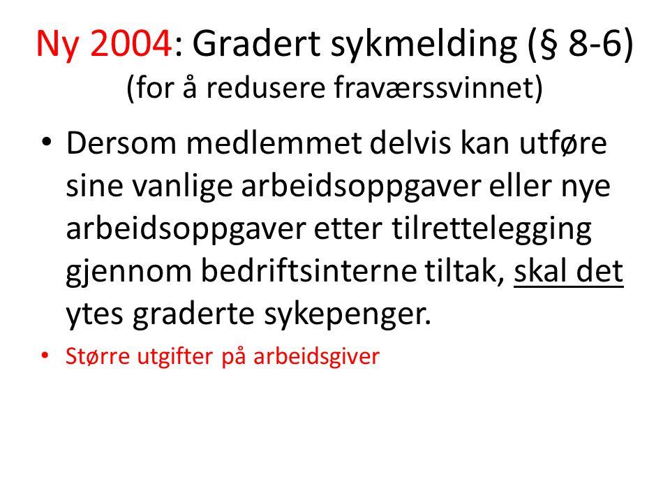 Ny 2004: Gradert sykmelding (§ 8-6) (for å redusere fraværssvinnet)