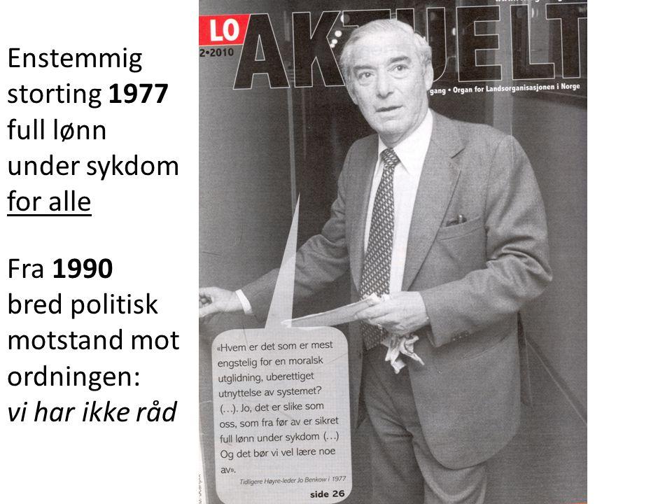 Enstemmig storting 1977 full lønn