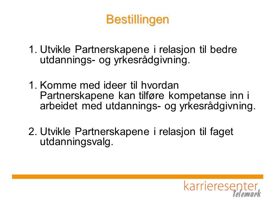 Bestillingen Utvikle Partnerskapene i relasjon til bedre utdannings- og yrkesrådgivning.