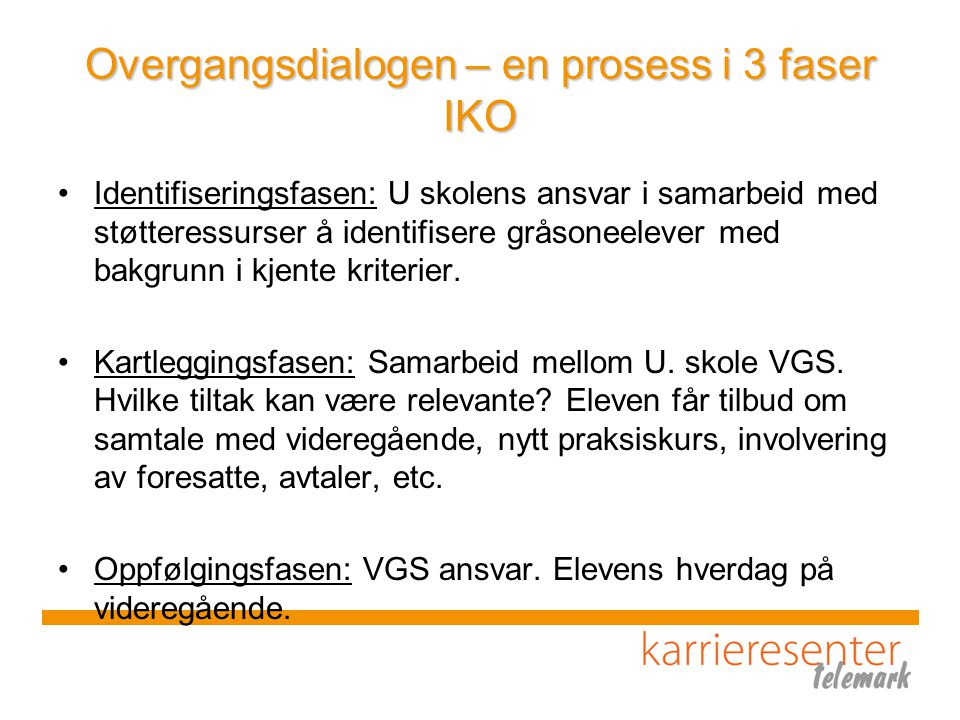 Overgangsdialogen – en prosess i 3 faser IKO