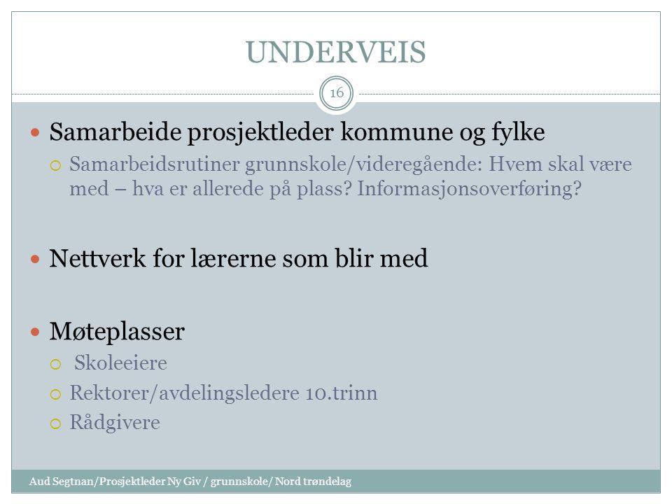UNDERVEIS Samarbeide prosjektleder kommune og fylke