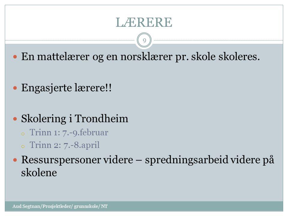LÆRERE En mattelærer og en norsklærer pr. skole skoleres.