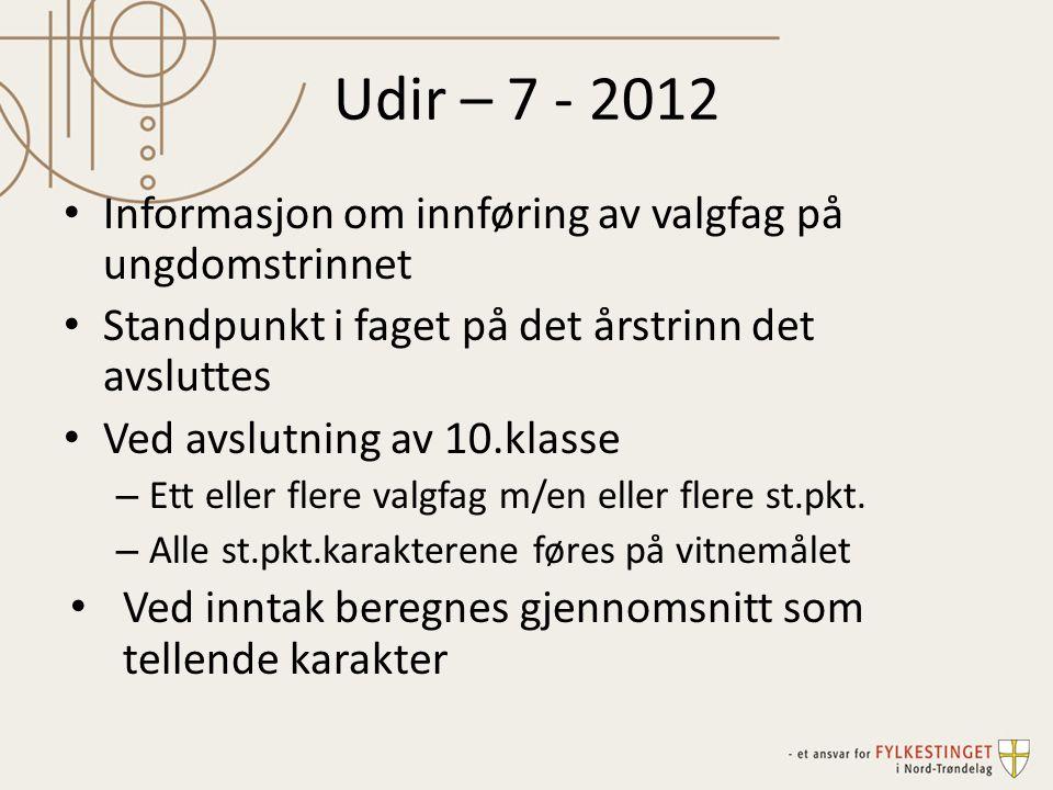 Udir – 7 - 2012 Informasjon om innføring av valgfag på ungdomstrinnet