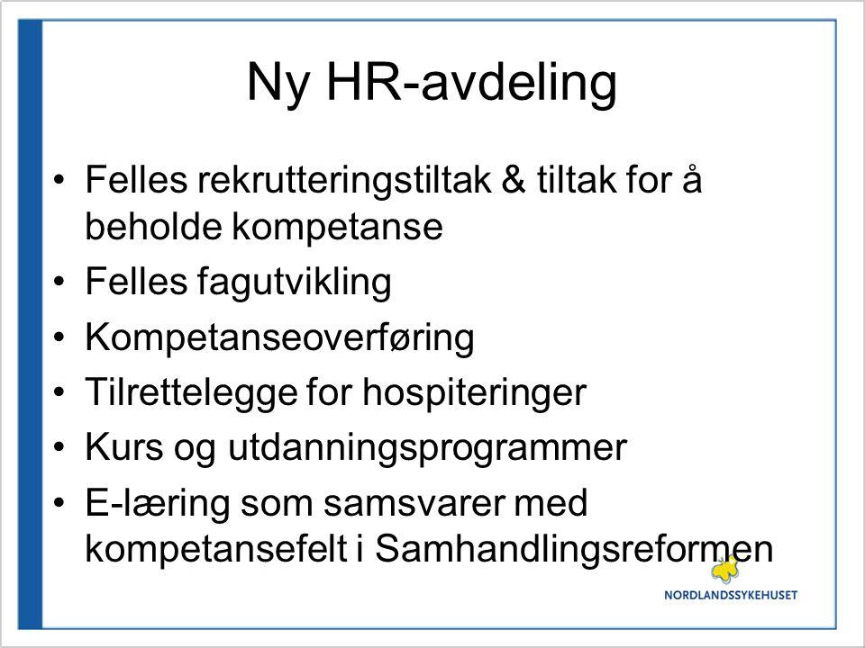 Ny HR-avdeling Felles rekrutteringstiltak & tiltak for å beholde kompetanse. Felles fagutvikling. Kompetanseoverføring.