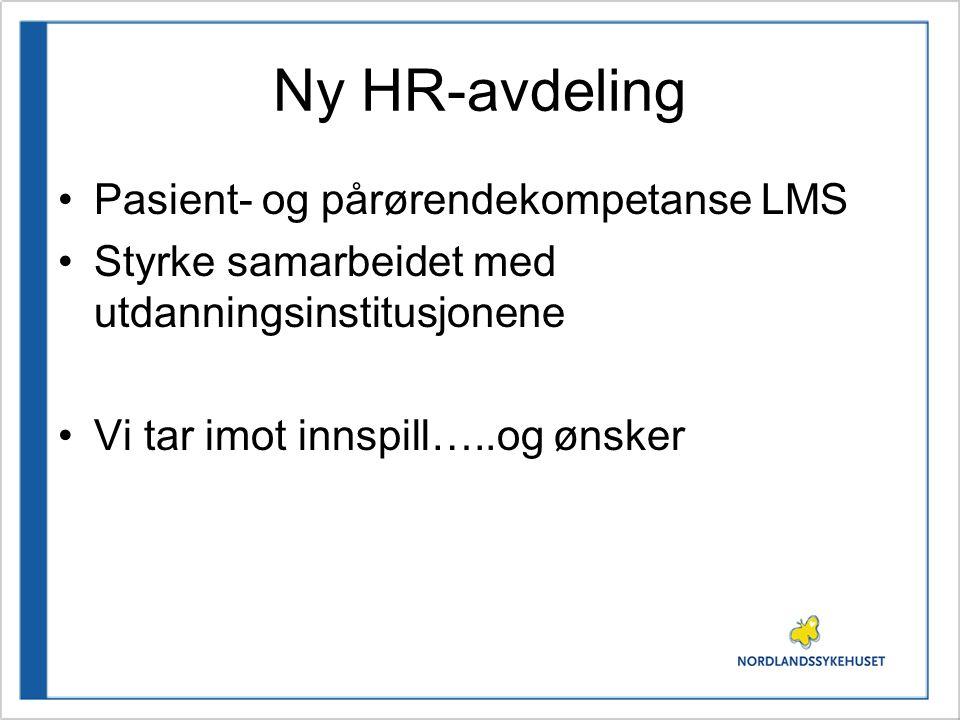 Ny HR-avdeling Pasient- og pårørendekompetanse LMS