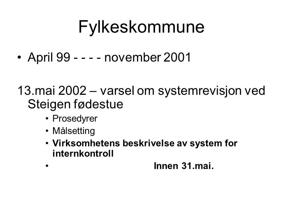 Fylkeskommune April 99 - - - - november 2001