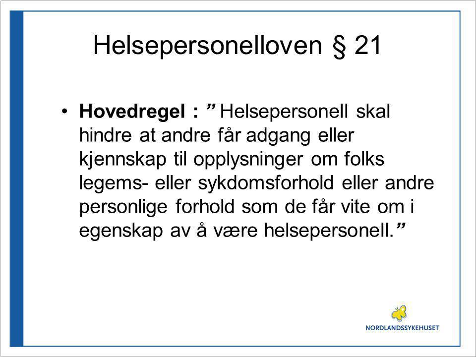 Helsepersonelloven § 21