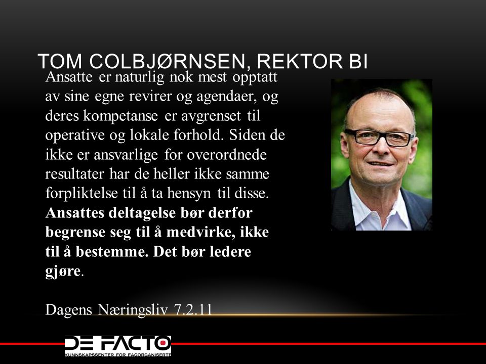 Tom Colbjørnsen, rektor BI