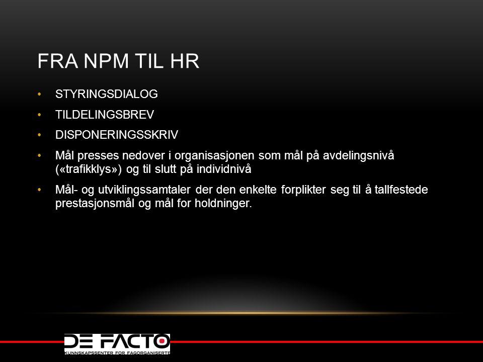FRA NPM TIL HR STYRINGSDIALOG TILDELINGSBREV DISPONERINGSSKRIV
