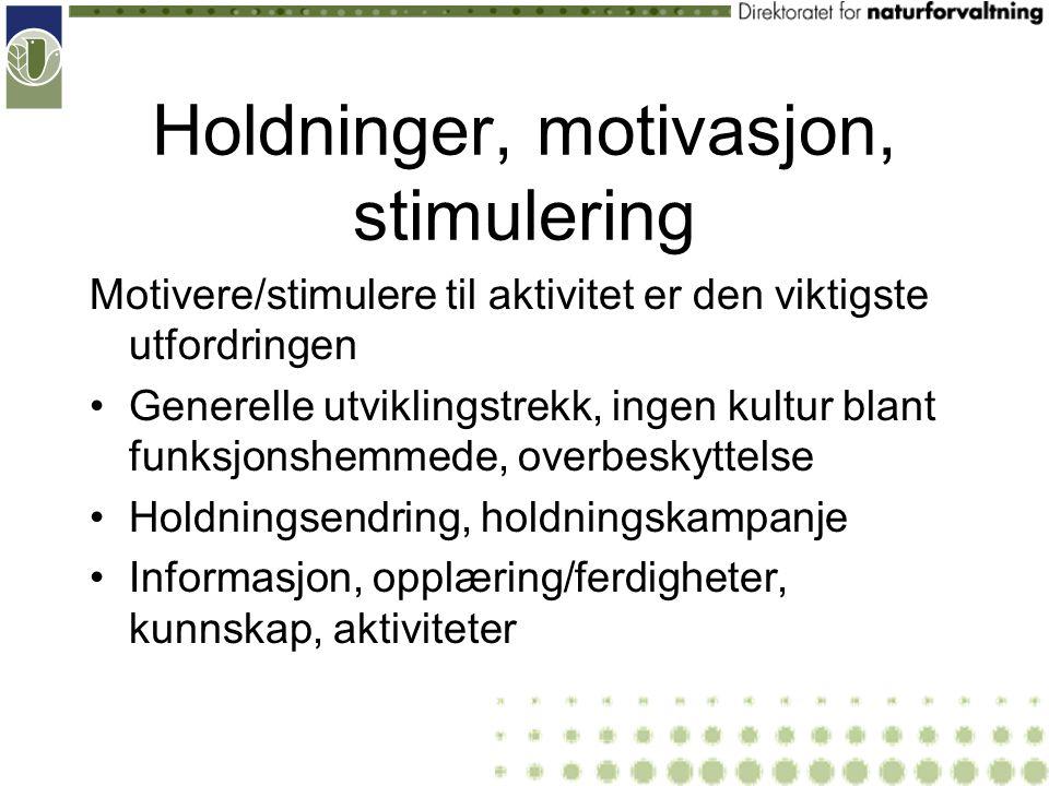 Holdninger, motivasjon, stimulering