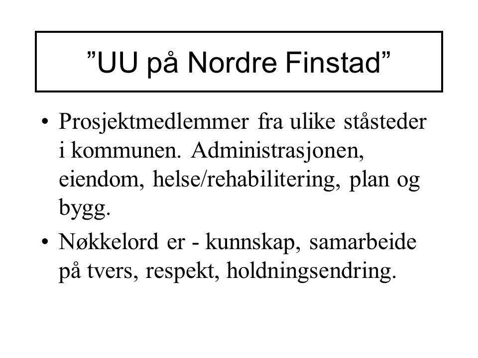 UU på Nordre Finstad Prosjektmedlemmer fra ulike ståsteder i kommunen. Administrasjonen, eiendom, helse/rehabilitering, plan og bygg.
