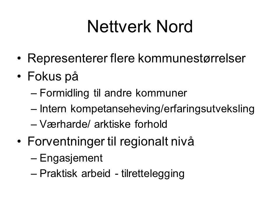 Nettverk Nord Representerer flere kommunestørrelser Fokus på