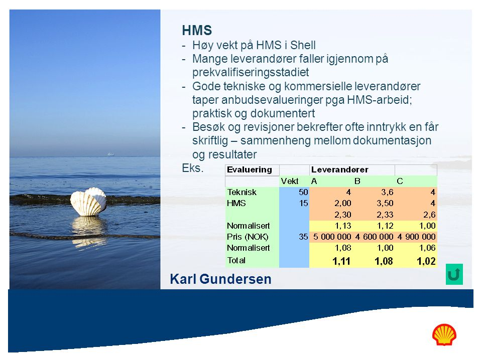HMS Karl Gundersen Høy vekt på HMS i Shell