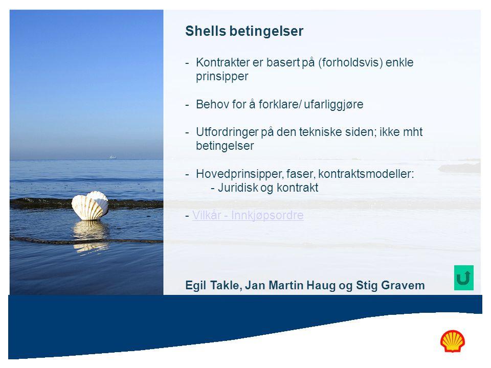 Shells betingelser Kontrakter er basert på (forholdsvis) enkle prinsipper. Behov for å forklare/ ufarliggjøre.