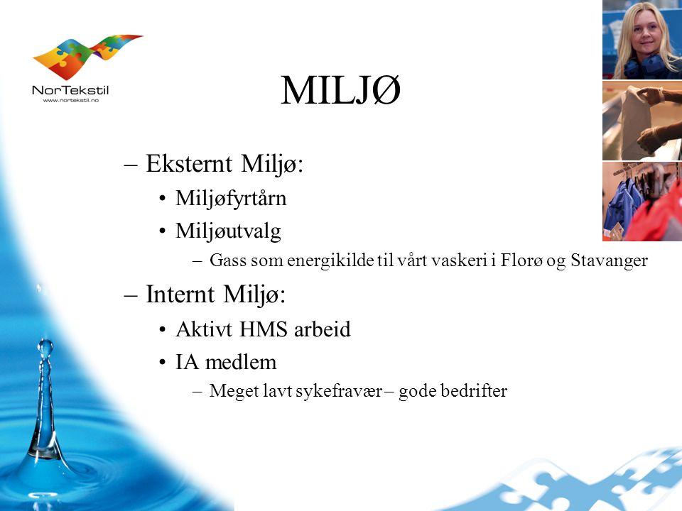 MILJØ Eksternt Miljø: Internt Miljø: Miljøfyrtårn Miljøutvalg