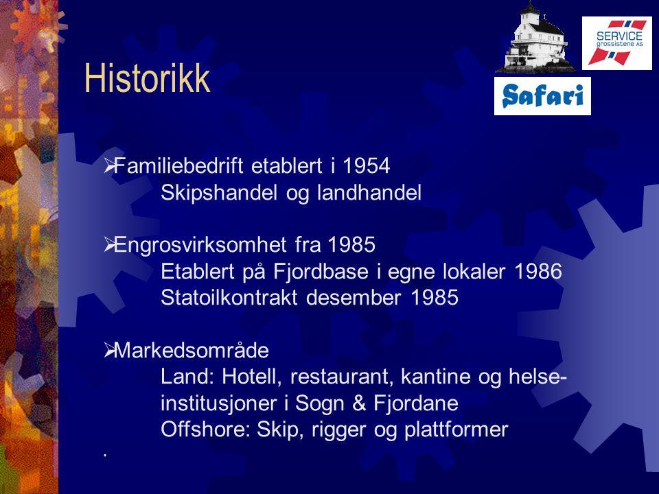 Historikk Familiebedrift etablert i 1954 Skipshandel og landhandel