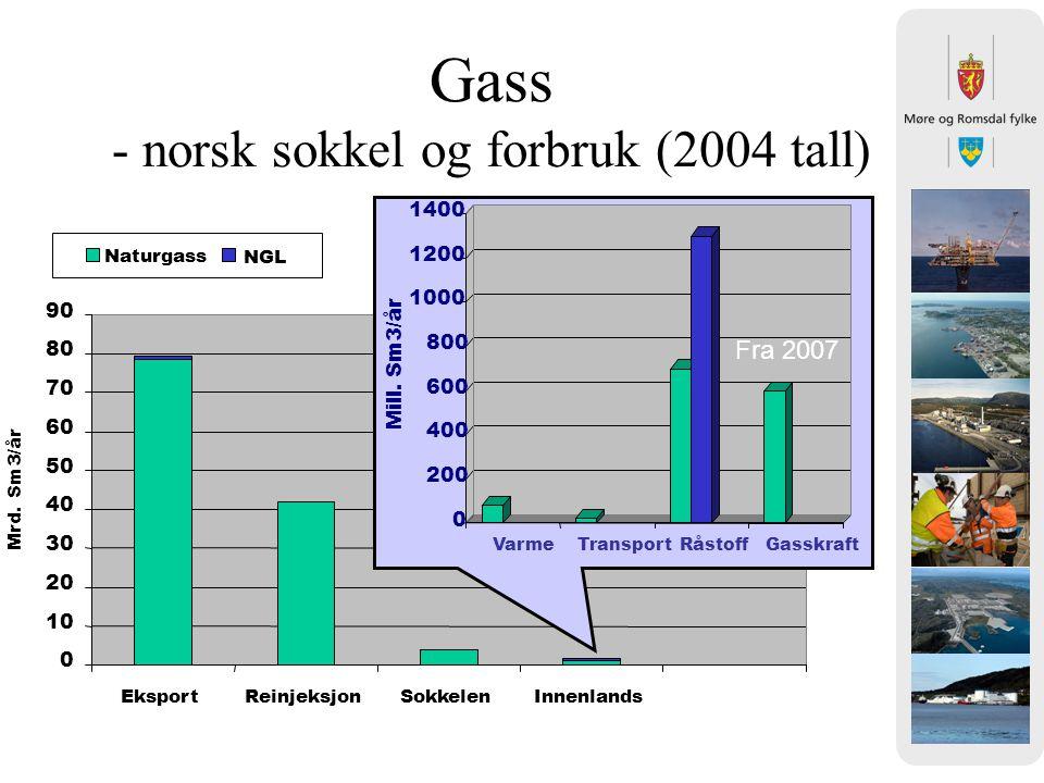 Gass - norsk sokkel og forbruk (2004 tall)