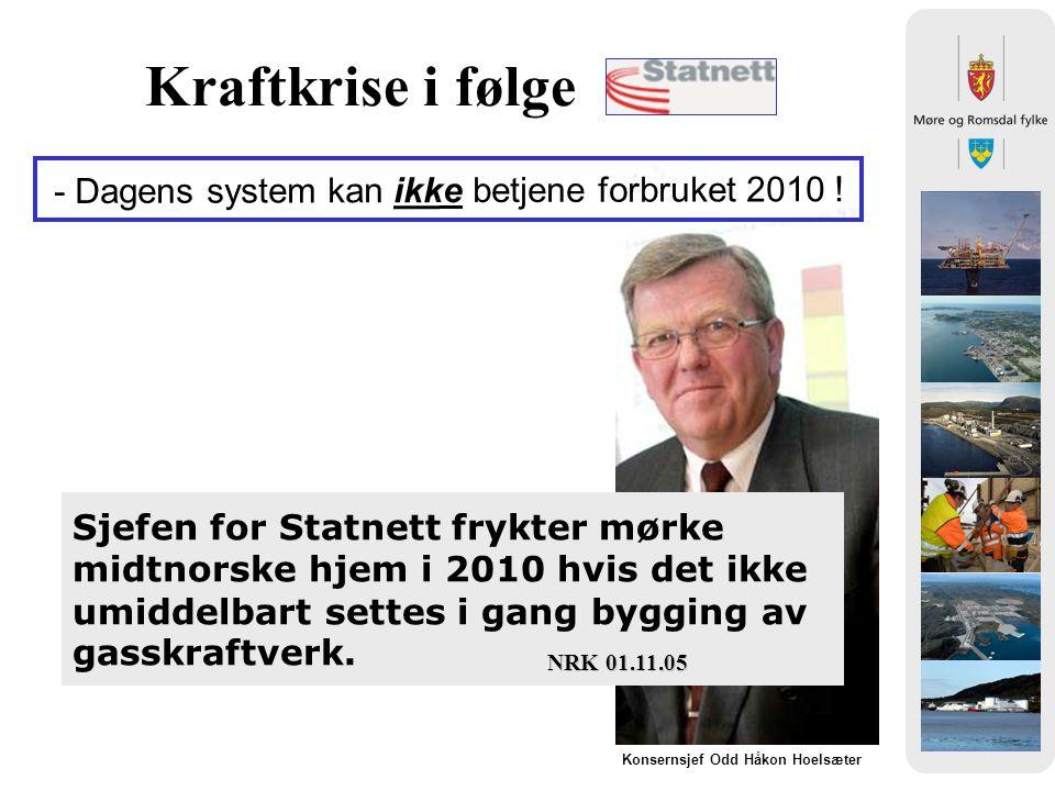 Kraftkrise i følge - Dagens system kan ikke betjene forbruket 2010 !