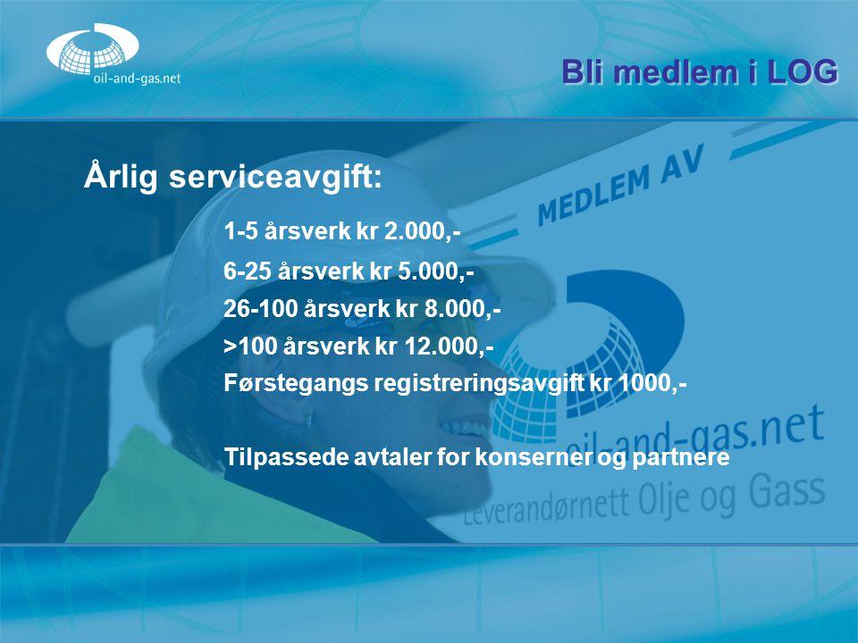 Bli medlem i LOG Årlig serviceavgift: 1-5 årsverk kr 2.000,-