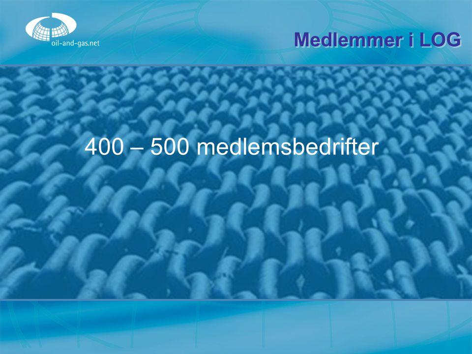 400 – 500 medlemsbedrifter Medlemmer i LOG
