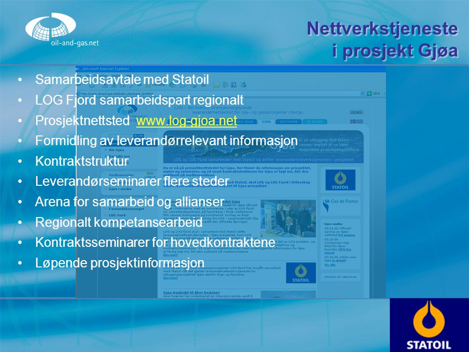 Nettverkstjeneste i prosjekt Gjøa
